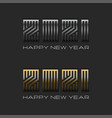 2021 logo number metallic font and text happy new vector image vector image