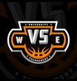 basketball vs sports logo emblem on a dark vector image vector image