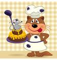 cat chef prepare cake vector image vector image