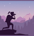 color night landscape silhouette of hiking woman vector image vector image