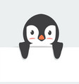 cute penguin holding sign cartoon vector image vector image