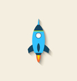 Flat icon of rocket with long shadow style vector image vector image