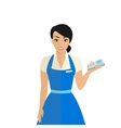 Friendly female shop assistant holding payment vector image