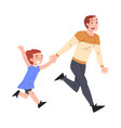happy dad and his little son running together vector image