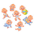 happy smiling newborn boy in different situations vector image