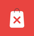 icon concept of shopping bag with x mark on red vector image vector image