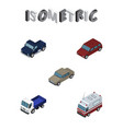 isometric car set of lorry auto first-aid and vector image vector image