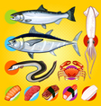 Japanese Sushi Fishes Sashimi vector image