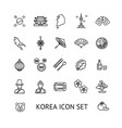 korea sign black thin line icon set vector image vector image