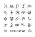 korea sign black thin line icon set vector image