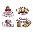 Label logo set for restaurant menu bakery and vector image vector image