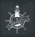 lighthouse building with ships or boats wheel vector image