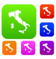 map of italy set collection vector image vector image