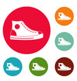 men shoe icons circle set vector image
