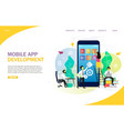 mobile app development landing page website vector image vector image