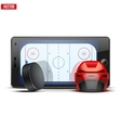 Mobile phone with ice hockey helmet puck and field vector image vector image