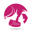 Mother and baby silhouettes icon vector image