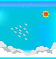 paper craft blue sky sun cloud birds star vector image