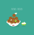 plate with falafel sauce friends forever vector image vector image