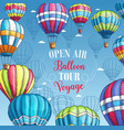 poster for hot air balloon tour voyage vector image vector image