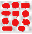 red speech bubble set isolated transparent vector image vector image