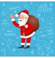 Santa Claus flat character on blue background vector image vector image