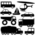 set 2 different transport silhouettes vector image vector image