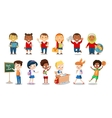 Set of cheerful school children flat icons vector image