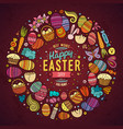 Set of easter cartoon doodle objects