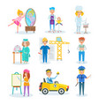 set of occupations in which children represent vector image