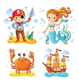 Set of sea and summer vector image