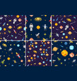 space seamless pattern set background alien vector image vector image
