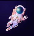 spaceman with breathing tanks in helmet at space vector image