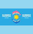 summer vacation flyer template with dolphines vector image