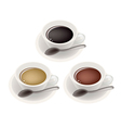 Three Kind of Coffee in Ceramic Cup vector image vector image