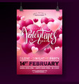 valentines day party flyer design with vector image
