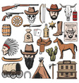 wild west and western american icons vector image vector image