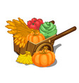 wooden cart filled with ripe vegetables vector image vector image