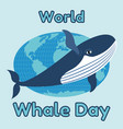 World whale day emblem card or banner cute blue