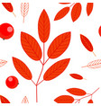 seamless pattern of berries and red leaves of vector image