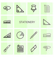 14 stationery icons vector image vector image