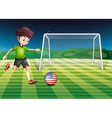 A player kicking the ball with the flag of USA vector image vector image