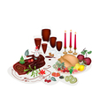 A Turkey At A Traditional Christmas Dinner vector image vector image