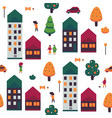 autumn cityscape seamless vector image vector image