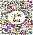 background i love bee vector image