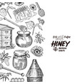 background with sketched honey elements vector image