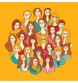 Big group women round color vector image vector image