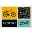 Bike outline concept set retro pattern label text vector image vector image