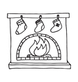 Christmas fireplace on white background vector image vector image