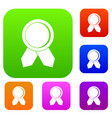 circle badge wih ribbons set collection vector image vector image